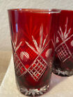 Vintage (4) Ruby Red Cut to Clear Bohemian Czech Crystal Glass Tumbler