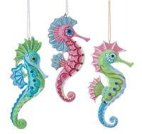 Kurt Adler Mermaid Fantasy Pink Green Blue Seahorses  Holiday Ornaments Set of 3