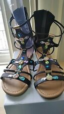 WOMEN'S LACE UP GLADIATOR SANDAL IN BLACK, with Rhinestones Design Size 10