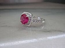 silver 2Ct (8mm)Lab.Created Ruby Ring Antique Style 14K White Gold over