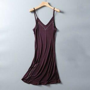 Women Mulberry Silk Slip Dress Strap Nightdress Petticoat Spaghetti Slit V Neck