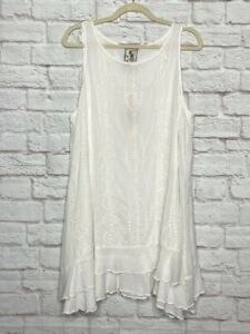 Large/XL New Johnny Was Eve Tiered Tank White Tunic Top Eyelet Lace Blouse $240