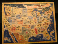 Vintage 1940's UNITED STATES INLAY PUZZLE, America 48 States A.M WALZER NO. 125