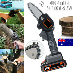 Mini Rechargeable Cordless Electric Chainsaw 24V Battery-Powered Wood Cutter Saw