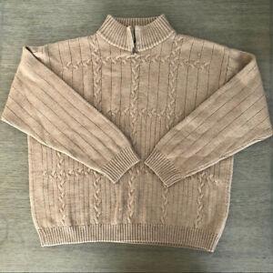 Joseph & Lyman Men's Sweater Tan Beige Merino Wool XL Pullover Made in Italy