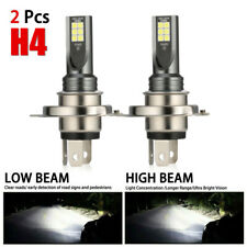 Pair Combo LED Mini H4 Headlight Kit High Low Beam 120W 30000LM 6000K FOG BulbS
