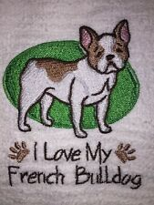 Embroidered Kitchen Bar Hand Towel  I Love My French Bulldog BS1074