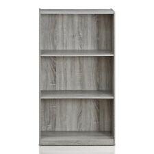 Furinno 99736GYW Basic 3-Tier Bookcase Storage Shelves, French Oak Grey