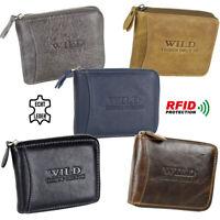 Herren Leder Geldbörse mit RFID Schutz Geldbeutel mit umlaufendem Reißverschluss