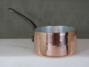 """3mm 7¾"""" Hammered Copper Pan Pot - Heavy, New Tin, French, E. Dehillerin Quality"""