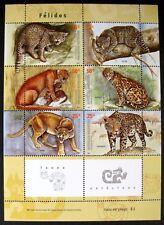 2001 MNH ARGENTINA WILD CAT STAMPS SHEET CATS JAGUAR PUMA LEOPARD OCELOT FELINE