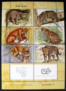 ARGENTINA WILD CAT STAMPS SHEET 2001 MNH CATS JAGUAR PUMA LEOPARD OCELOT FELINE