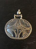 Vintage 925 Sterling Silver Large Traditional Ethnic Pendant Necklace Elips