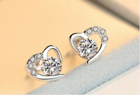Heart Swirl Crystal Stone Stud Earrings 925 Sterling Silver Womens Jewellery New