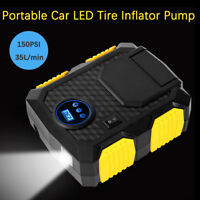 Portable Digital Tire Inflator 12V LED Lighting Auto Air Compressor Pump 150PSI