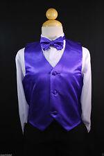 Children Teen Boys PURPLE VEST + BOW TIE for Wedding Formal Suits Tuxedo Sz S-28
