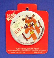 Russ BUTTON PIN Christmas Vintage REINDEER ERA EQUAL Amendment Holiday NEW