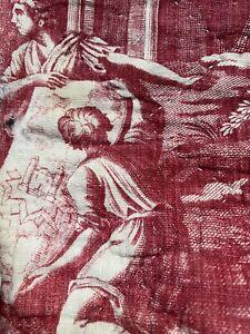 Beautiful Rare Antique c1800 Toile de jouy /Nantes Quilted Linen panel 83/48cms