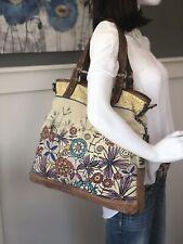 FOSSIL Extra Large Canvas Hobo Shoulder Bag Tote Purse Floral