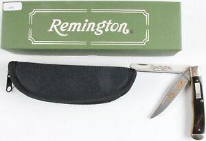 Remington USA buffalo horn 2002 trapper Grand American gold etch knife MIB
