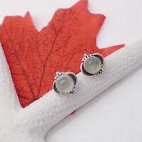 Prehnit grün rund Nostalgie Design Ohrringe Ohrstecker 925 Sterling Silber neu