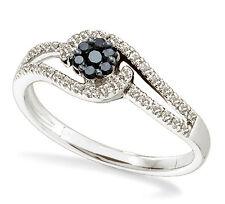 100% 14K White Gold Split Band Black & White Diamond Flower Cluster Ring .25ct