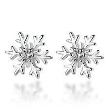 925 Sterling Silver Crystal Zircon Snowflake Stud Earrings Women Jewelry Gift