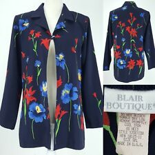 Blair Boutique Navy Blue Spring Floral One Button Blazer Jacket Top Womens Small