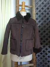 SIMONETTA MINI Boys COCOA BROWN COAT Jacket Faux Suede SHEARLING 100cm 3T $300+