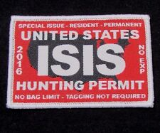 UNITED STATES ISIS HUNTING PERMIT US MILITARY TACTICAL MORALE RED VELCRO PATCH