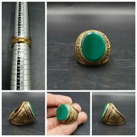 Wonderful Unique Gold Gilded Vintage Ring With Green Agate  #D1