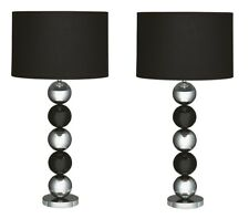 *SET OF 2* Searchlight Gina 2038CC Modern Table Lamps in Black & Chrome