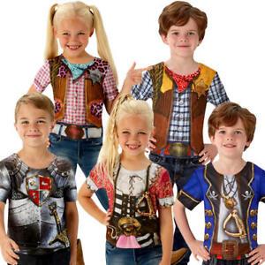 Roleplay T-Shirt Kids Fancy Dress Book Day Week Boys Girls Childrens Costume Top