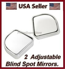 2 AUXILIARY BLIND SPOT WIDE VIEW CHROME MIRROR SMALL SIDE REARVIEW CAR RV TRUCK