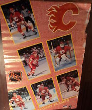 VINTAGE POSTER~Calgary Flames 1991 Collage Vernon Fleury Al MacInnis Nieuwendyk~