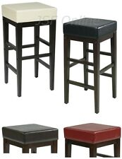 Faux Leather Seat Wood Legs 30H Square Bar Breakfast Counter Stool Chair ES30VS3