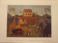 art print~NOAH'S ARK~Warren Kimble~folk~OOP~animals birds boat primitive 16x12
