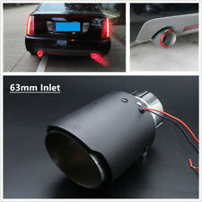 63mm Inlet Red LED Light Trucks Car Muffler Matte Carbon Fiber Exhaust Pipe Tip