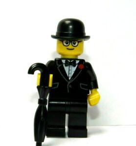 Lego Man Boy Minifigure Glasses Black Suit Bowtie Red Flower Bowler Hat Umbrella