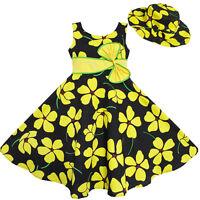 Robe Fille 2 Pecs Soleil Chapeau Arc Attacher Jaune Été Plage Enfants Vêtements