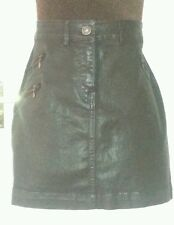 NEXT Womens Dark Brown Shiny Denim MINI SKIRT S/M uk12us8eu38 Waist w30ins w76cm