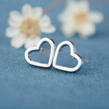 925 Sterling Silver Ladies Earring Jewelry Surgical Steel Heart Stud Girls Gift