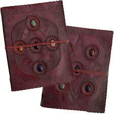 "13"" x 10"" Real Leather Handmade Photo Album Wedding Scrapbook Journal - 5 Stones"
