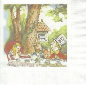 2 Cocktail Papier Servietten Napkins (E12-2) Alice mit ihren Freunden
