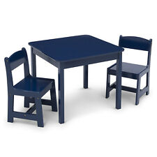 Delta Children MySize Wooden Craft Table and Chairs Set for Toddlers, Deep Blue