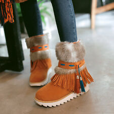 Womens Tassel Boho Platform Ankle Boots Snow Winter Faux Fur Warm Shoes Pull On