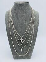 Vintage Silver Tone Multi 4 Strand Cross Necklace Pearl Religious Silver Tone