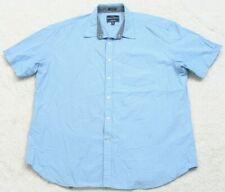 Indian Terrain Blue Striped Pocket Dress Shirt Short Sleeve Slim Fit Cotton XXL
