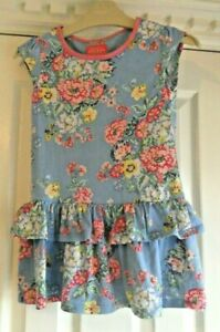 Joules Pale Purply Blue with Floral Pattern Cap Sleeve Dress Age 4 Years Superb