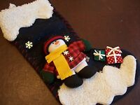 Christmas Holiday Hanging Stocking with Snowman, Snow, and Presents
